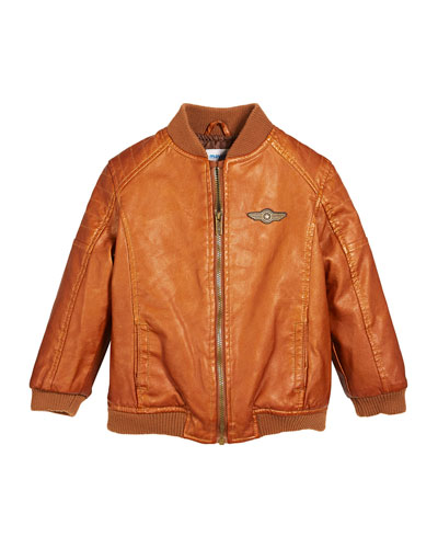 Vintage Aviator Faux-Leather Jacket, Size 12-36 Months