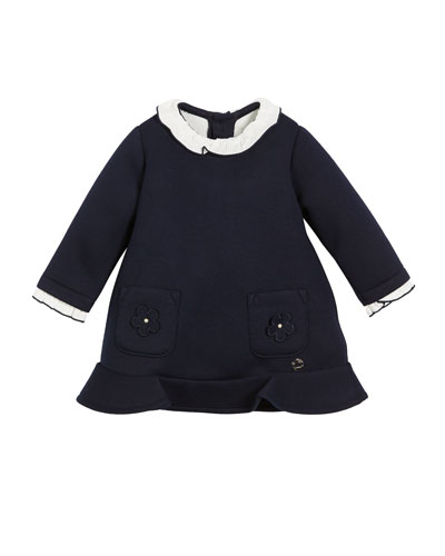 Long-Sleeve Ruffle Dress with Patch Pockets, Size 6-36 months
