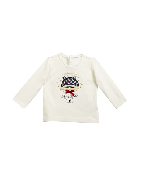 Mayoral Long-Sleeve Umbrella Applique Tee, Size 6-36 Months