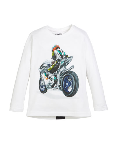 Motorcycle Graphic Long-Sleeve Tee, Size 3-7