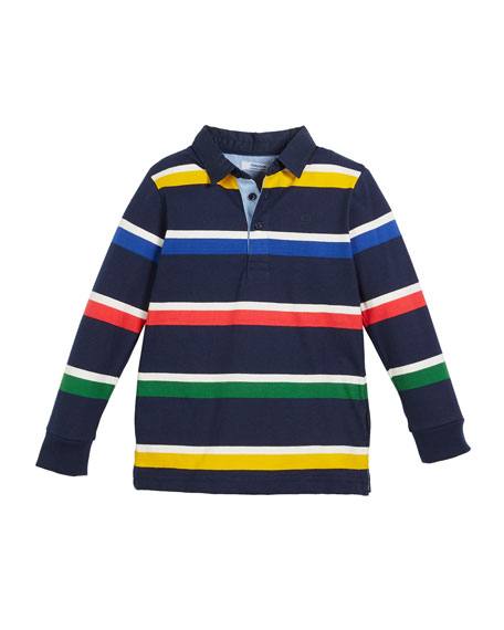 Mayoral Long-Sleeve Stripe Polo Shirt, Size 3-7