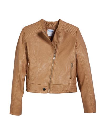 Faux Leather Biker Jacket, Size 8-16