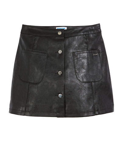 Button-Front Faux-Leather A-Line Skirt, Size 8-16