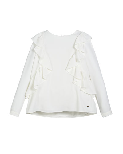 Ruffle-Trim Long-Sleeve Blouse  Size 8-16