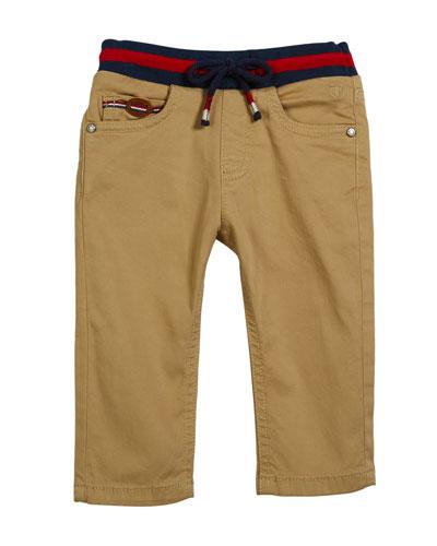 Woven Straight-Leg Pants w/ Knit Waistband, Size 6-36 Months