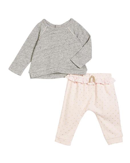 Miniclasix High-Low Sweater w/ Ruffle-Waist Pants, Size 3-24