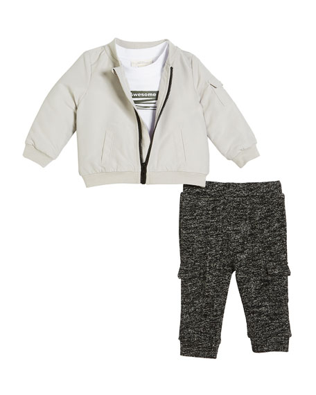 Miniclasix Bomber Jacket, Graphic Tee and Knit Cargo