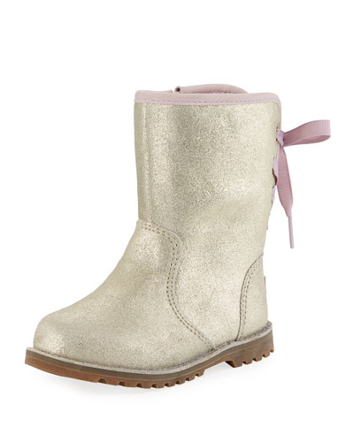 Corene Metallic Suede Bow-Back Boots, Toddler