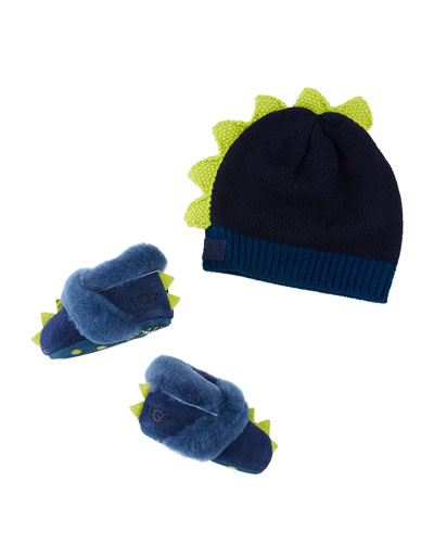 Dydo Dino Suede Booties & Knit Wool Beanie, Baby