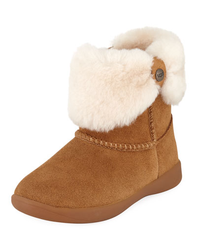 Ramona Suede Boots w/ Shearling Cuff, Youth