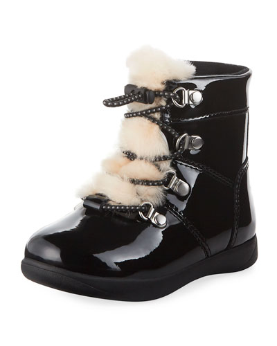 Ager Patent Leather Boots w/ Sheepskin Tongue, Toddler