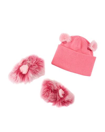 Pinkipuff Sheepskin Booties & Wool Beanie Hat w/ Ear Details, Baby