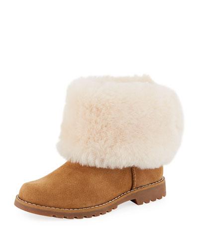 Nessa Suede Boots w/ Exposed Sheepskin Shaft, Kids