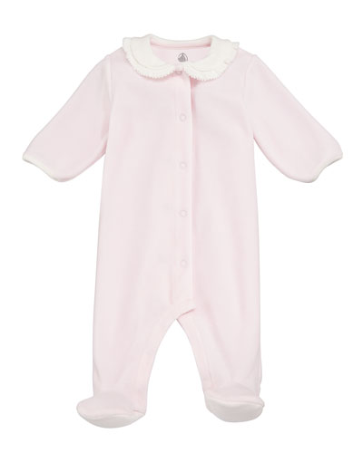Velour Front-Snap Footie Pajamas w/ Contrast Collar, Size 1-9 Months