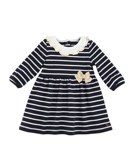 8cd6f0c15 Petit Bateau Tarika Stripe Cotton Ruffle Collar Dress