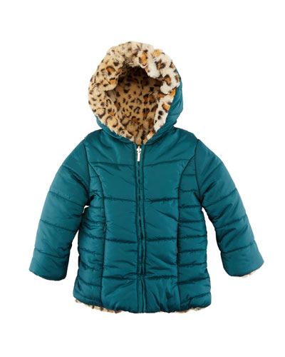 Reversible Cheetah-Print Faux-Fur Coat  Size 12-36 Months