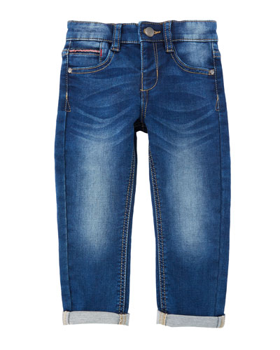 Straight-Leg Denim Jeans w/ Rolled Cuffs, Size 3-7