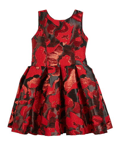 Abstract Floral Jacquard Party Dress  Size 4-6X