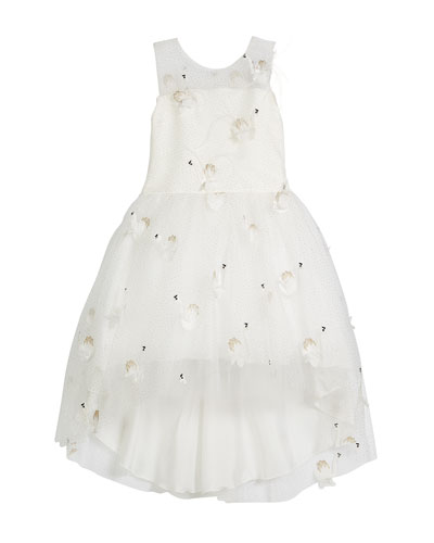 Embroidered Illusion-Neck Party Dress  Size 4-6X