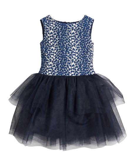 Daisy Tulle-Skirt Sleeveless Dress, Size 2-8