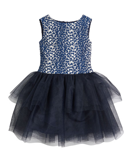 Charabia Daisy Tulle-Skirt Sleeveless Dress, Size 10-12