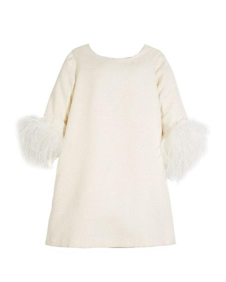 Charabia Knit Metallic Dress w/ Feather Cuffs, Size