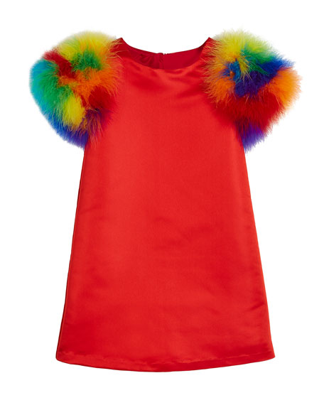 Elena A-Line Dress w/ Multicolored Feather Sleeves, Size 2-8