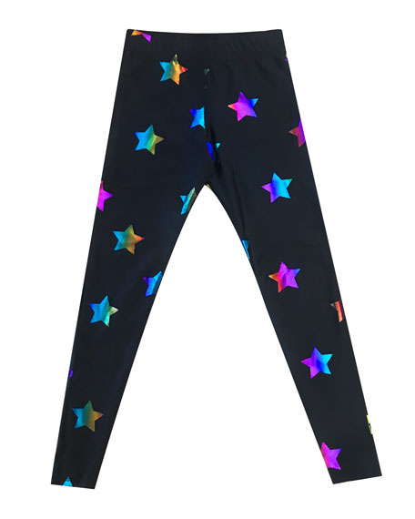 Terez Rainbow Foil Star-Print Leggings, Size 7-16
