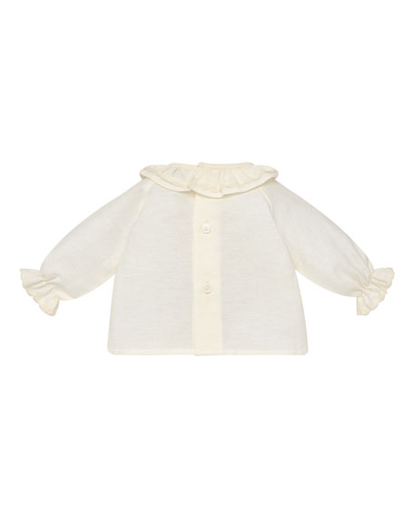 Ruffle-Collar Cotton Blouse, Size 1-12 Months