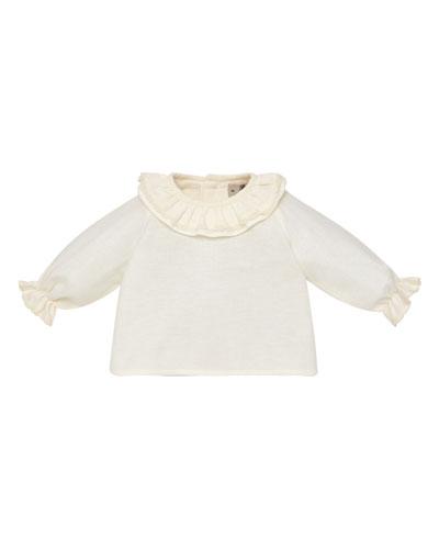 Ruffle-Collar Cotton Blouse, Size 1-12 Months