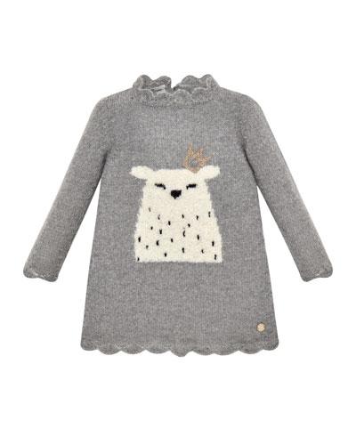 Long-Sleeve Polar Bear Sweater Dress, Size 2-6