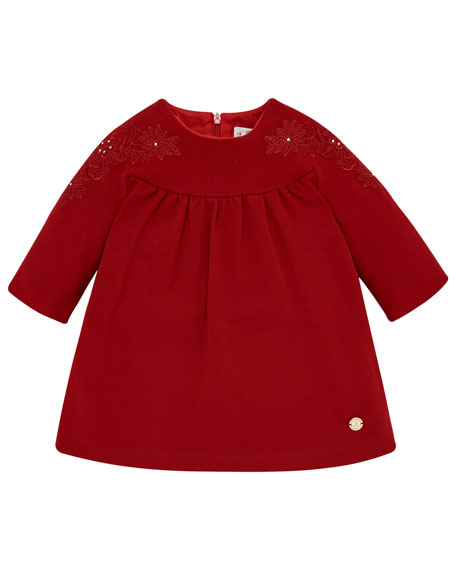 Long-Sleeve Knit Dress w/ Flower Embroidery, Size 12M-4