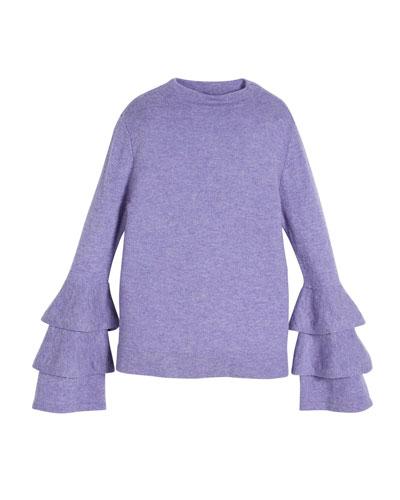 Rib-Knit Ruffle-Sleeve Sweater, Size 8-16