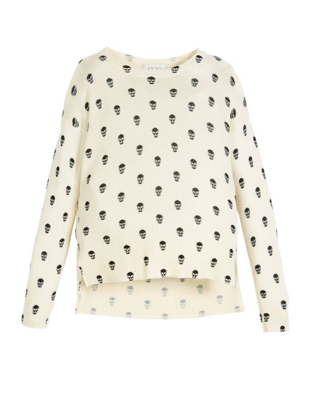 Autumn Cashmere Long-Sleeve Skull-Print Sweater, Size 8-16