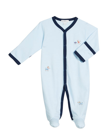 Kissy Kissy Cozy Pups Striped Embroidered Footie Playsuit,