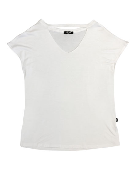 Cutout V-Neck Short-Sleeve Tee, Size 7-16