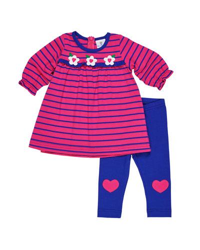 Striped Flower Dress w/ Heart-Knee Leggings, Size 3-24 Months