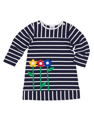 Striped Pique Knit Flower Dress, Size 2-6X
