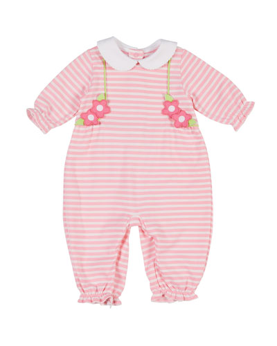 Striped Flower Peter Pan-Collar Coverall, Size 3-24 Months