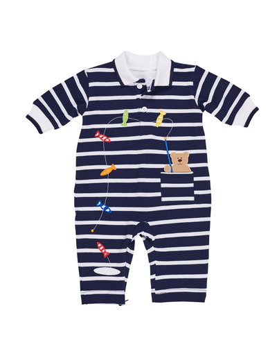 Striped Fishing Bear Coverall, Size 3-18 Months