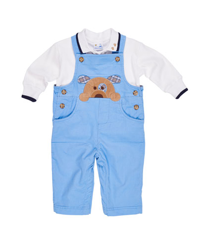 Corduroy Puppy Overalls w/ Long-Sleeve Polo Top, Size 6-18 Months