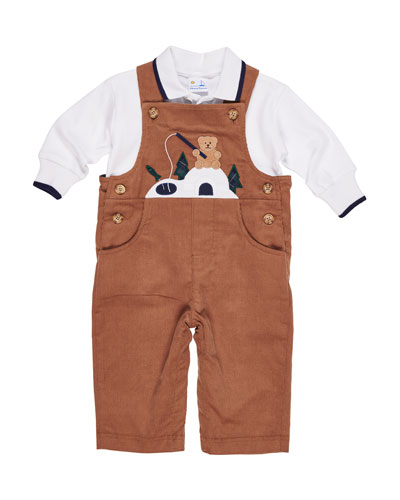 Corduroy Fishing Bear Overalls w/ Long-Sleeve Polo Top, Size 6-24 Months