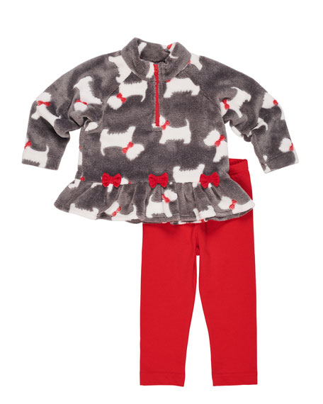 Scottie Dog Fleece Top w/ Solid Leggings, Size 9-24 Months