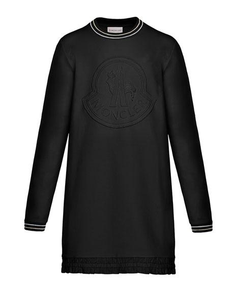 Moncler Striped-Trim Long-Sleeve Dress w/ Tonal Logo Embroidery,