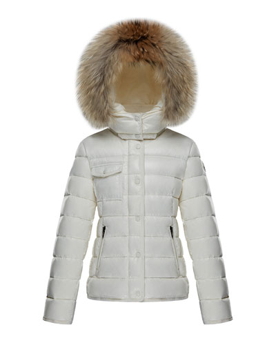 Armoise Quilted Hooded Coat w/ Fur Trim, Size 8-14