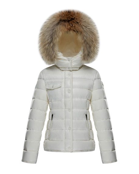 bef24a34d8ea Moncler Armoise Quilted Hooded Coat w  Fur Trim
