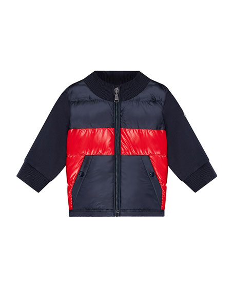 Moncler Quilted Two-Tone Jacket w/ Knit Sleeves, Size