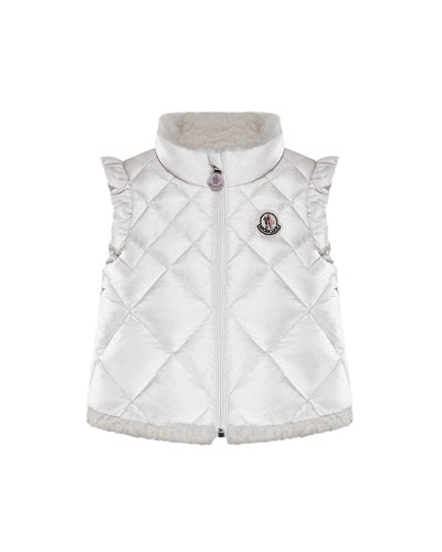 Teata Quilted Ruffle-Trim Vest w/ Shearling Lining, Size 12M-3 Quick Look. Moncler