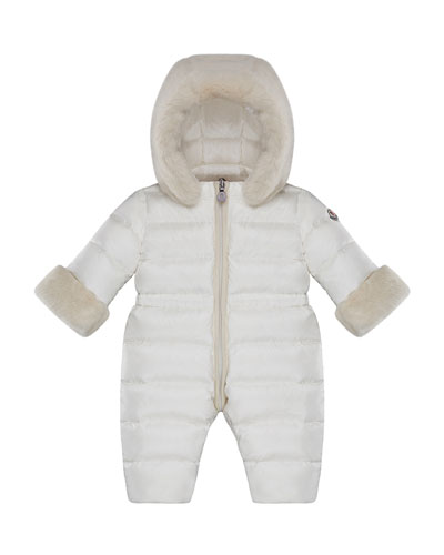 Ardisie Quilted Puffer Bunting w/ Faux Fur Trim, Size 6-24 Months