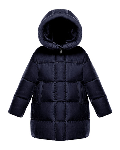 Moncler Butor Quilted Velour Jacket, Size 4-6